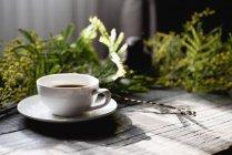 Tasse Kaffee auf Holztisch mit Mimosa Zweige — Stockfoto
