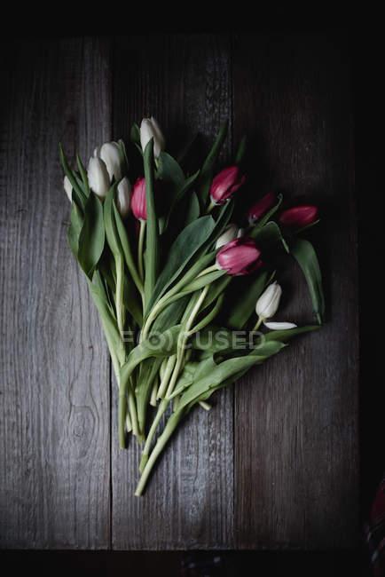 Frisch geschnitten Sie Tulpen auf hölzernen Hintergrund — Stockfoto