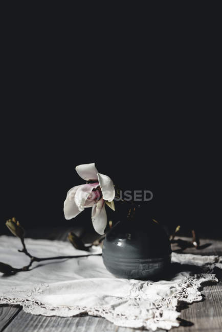 Orchid blossom in vase on wooden table — Stock Photo