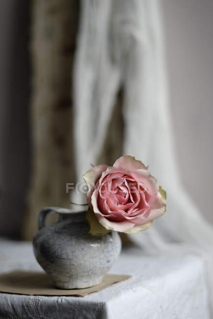 Rosa rosa em vaso de cerâmica vintage na mesa, close-up — Fotografia de Stock