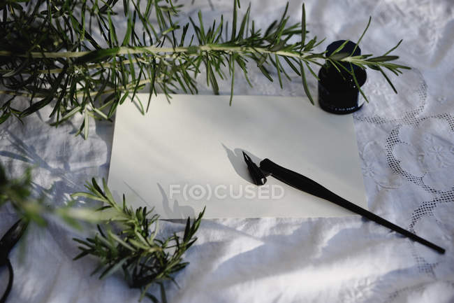 Vintage fountain pen on paper with inkwell and decoration of rosemary twigs — Stock Photo