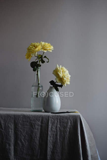 Yellow Rose Flowers In Vases On Table Corner Stock Photo 188453367