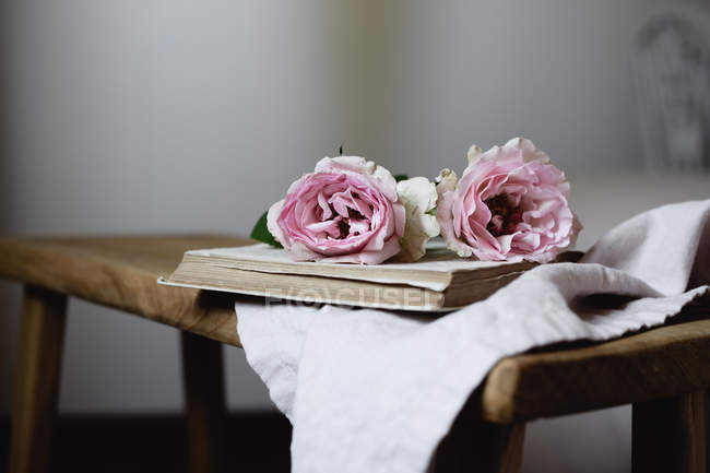Pink rose flowers on open book on vintage stool, close-up — Stock Photo