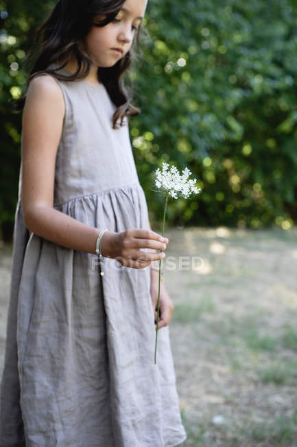 Girl in grey dress holding umbel wild carrot flower. — Stock Photo