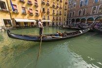 Gondola against Hotel Cavaletto, Venice, Venetia, Italy — Stock Photo