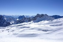 View from the Zugspitze, the highest mountain of Germany on the Alps — Stock Photo