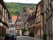 Houses at street during daytime Vogesen, France, Elsass, Strassburg — Stock Photo