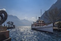 Ship on water surface, Lake Garda, Italy — Stock Photo