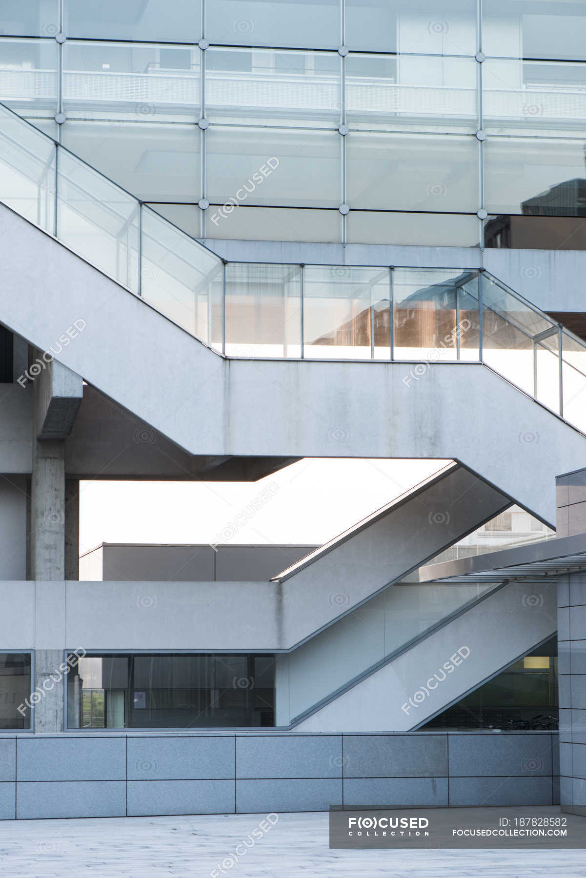 Modern builng facade with stairs, Danube City, Vienna, Austria