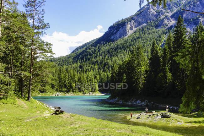 Bergsee mit Bäumen am Ufer gegen Wasser und Berg, Österreich, Steiermark — Stockfoto