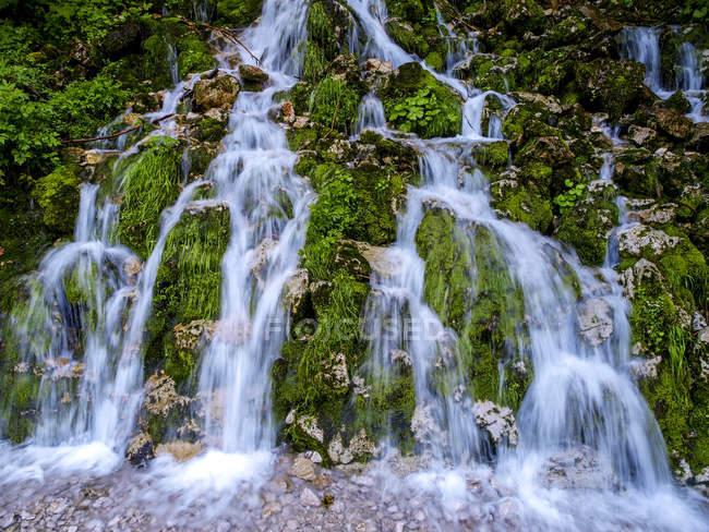 Водопад поток на скале в дневное время — стоковое фото