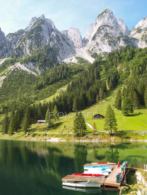 Blick auf Gosausee Seen- und Berglandschaft Hang mit Bäumen im Hintergrund, Alpen — Stockfoto