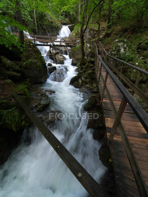 Myra waterfalls and footbridge, Austria — Stock Photo