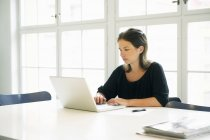 Young woman using laptop in office — Stock Photo