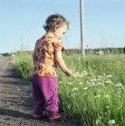 Menina olhando para flores selvagens por estrada de terra — Fotografia de Stock