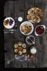 Top view of pancakes on wooden table — Stock Photo