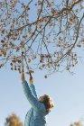 Vista laterale di rami di taglio donna in autunno — Foto stock