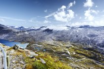 Elevated view of mountains, lake and rivers at More og Romsdal, Norway — Stock Photo