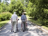 Rear view of two senior men with walking frames — Stock Photo
