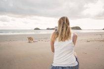 Женщина фотографирует кенгуру на пляже — стоковое фото