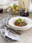 Beef stew in soup bowl served on table — Stock Photo
