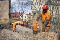 Арбористы в защитных бревнах для резки рабочей одежды от внешнего вида зданий — стоковое фото