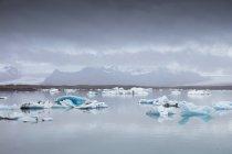 Blocos de gelo sobre o lago de Jokulsarlon com a cadeia de montanhas cobertas de neve no horizonte — Fotografia de Stock
