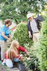 Grandparents and granddaughter working in garden — Stock Photo