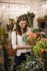 Woman choosing flowers in shop, selective focus — Stock Photo