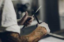 Різник заточування ножів, диференціальні фокус — стокове фото