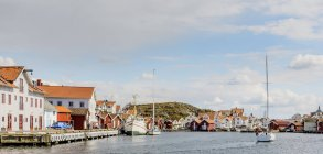 View of fishing village and canal in Swedish West Coast — Stock Photo