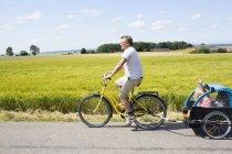 Вид збоку батька Велоспорт з дочкою в велосипедний причіп — стокове фото