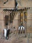 Close-up de ferramentas de jardim na parede de madeira — Fotografia de Stock