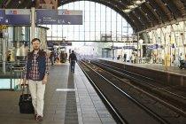 Man walking on railway station in Berlin — Stock Photo