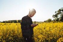 Uomo in campo agricolo utilizzando smart phone — Foto stock