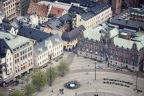 Aerial view of square in old town — Stock Photo
