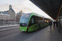 Modern green bus in Malmo, selective focus — Stock Photo