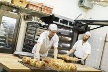 Чоловіки готувати смачні булочки на професійних пекарня — стокове фото