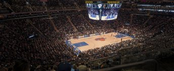Juego de baloncesto en Madison Square Garden, enfoque selectivo - foto de stock