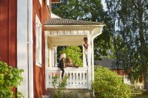 Children playing on portico, selective focus — Stock Photo