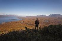 Visão traseira do homem olhando para fora através do campo para o mar — Fotografia de Stock