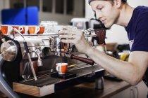 Barista making coffee, selective focus — Stock Photo