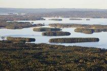 Malerischer Blick auf Fluss und Wald, Skandinavien — Stockfoto