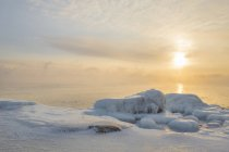 Landscape with sea and frozen coast at sunset — Stock Photo