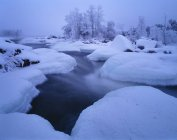 Snow and ice floes on River Torne — Stock Photo