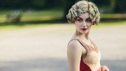 Retrato de artista de circo de rua feminino — Fotografia de Stock