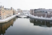 Elevated view of Stockholm Cityscape at winter — Stock Photo