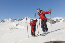 Portrait of female skiers in mountains at winter — Stock Photo