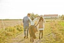 Вид сзади родителей, идущих с ребенком на лошади — стоковое фото