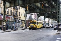 Yellow bus in Brooklyn, New York, selective focus — Stock Photo